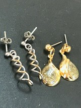 Estate Lot of Dainty Silver & Goldtone Twist & Green Sparkly Enamel Tear... - $12.19