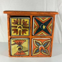 Four Drawer Ceramic Spice Chest Hand Painted Wood Orange Made in India - £18.98 GBP