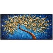 Okbonn Large Gold and Blue Oil Paintings Modern Framed Tree Art 3D Hand ... - $111.16