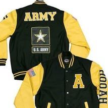 U.S. Army Varsity Jacket with Leather Sleeve- Yellow/Black - $158.35+