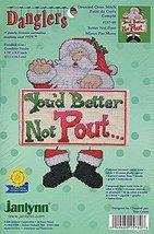 Janlynn Danglers Counted Cross Stitch Kit 157-89 Better Not Pout Santa - $19.57
