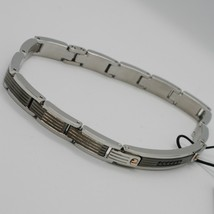 STAINLESS STEEL ZANCAN BRACELET, BICOLOR STRIPED WITH BLACK CUBIC ZIRCONIA image 2