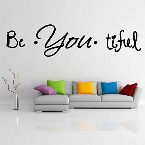 ( 20'' x 5'') Vinyl Wall Decal Quote Be*You*tiful / Inspirational Text Beautiful - $15.34