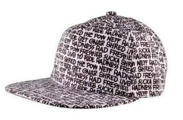 Neff Types Snapback Flat Brim Hat Baseball Cap Yellow Black & White