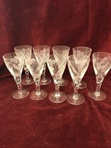 9 Pc Cordials Vintage Etched Clear Crystal Stemware Champagnes - $42.56
