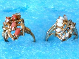 2 VINTAGE CORAL OPAL CLUSTER RING LOT s 7 as is - $20.78