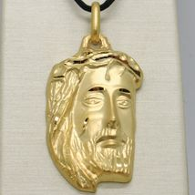 18K YELLOW GOLD JESUS FACE PENDANT CHARM 42 MM, 1.6 IN, FINELY WORKED ITALY MADE image 3