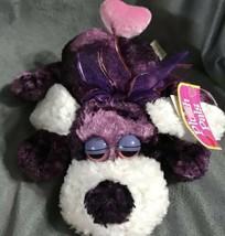 "Dan Dee Purple Hound Dog Heart Tail Plush Stuffed Valentines 9"" Chenille... - $23.67"