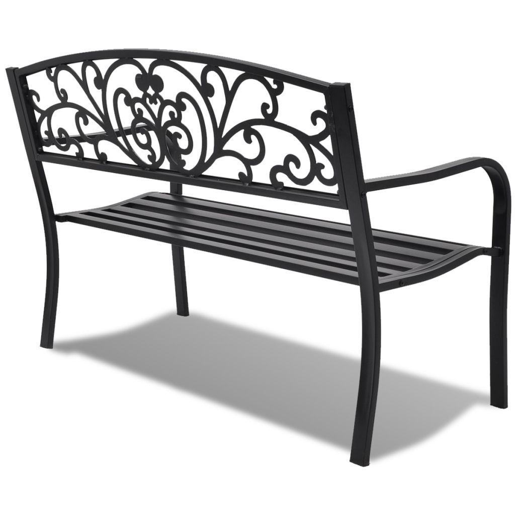 "50"" Outdoor Patio Park Garden Bench Porch Chair Steel Frame Cast Iron Backrest image 3"