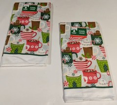 """Christmas House""-Kitchen BarTowels Featuring Cups Of Cocoa  Set of 2 15... - $6.75"