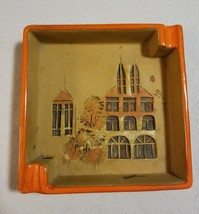 Vintage Retro Large Orange Original Ashtray Building Carved 70's Pottery... - $15.51