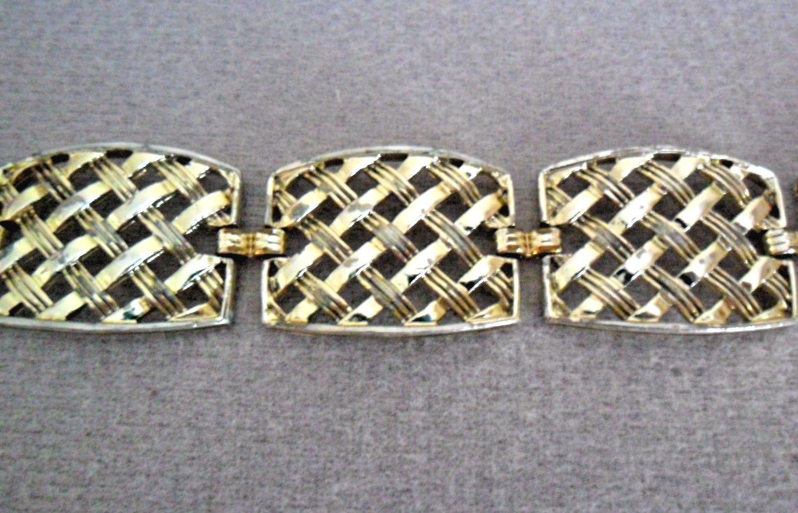 Sarah Coventry Vintage Basketweave Bracelet Earrings Set Wide Silvertone