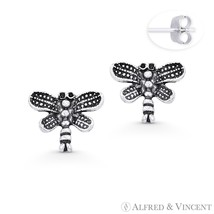 Dragonfly Insect Animal Charm Oxidized Solid .925 Sterling Silver Stud Earrings - $14.69