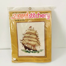 Sunset Stichery Clipper Ship Sewing Kit Boat Before Wind Stitchery Embro... - $39.99