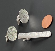 Vintage Anson Cufflinks Tie Clip Set  Brushed Silver Classic Oval Cuff L... - $32.80