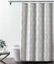 """Croscill Gwynn Fabric Shower Curtain 72x72"""" Silver Gray Lattice Bath Gue... - $53.44"""