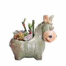 SweetLifeIdea Ceramic Garden Decor Planter Donkey Shaped Flower Pot Cact... - $24.90