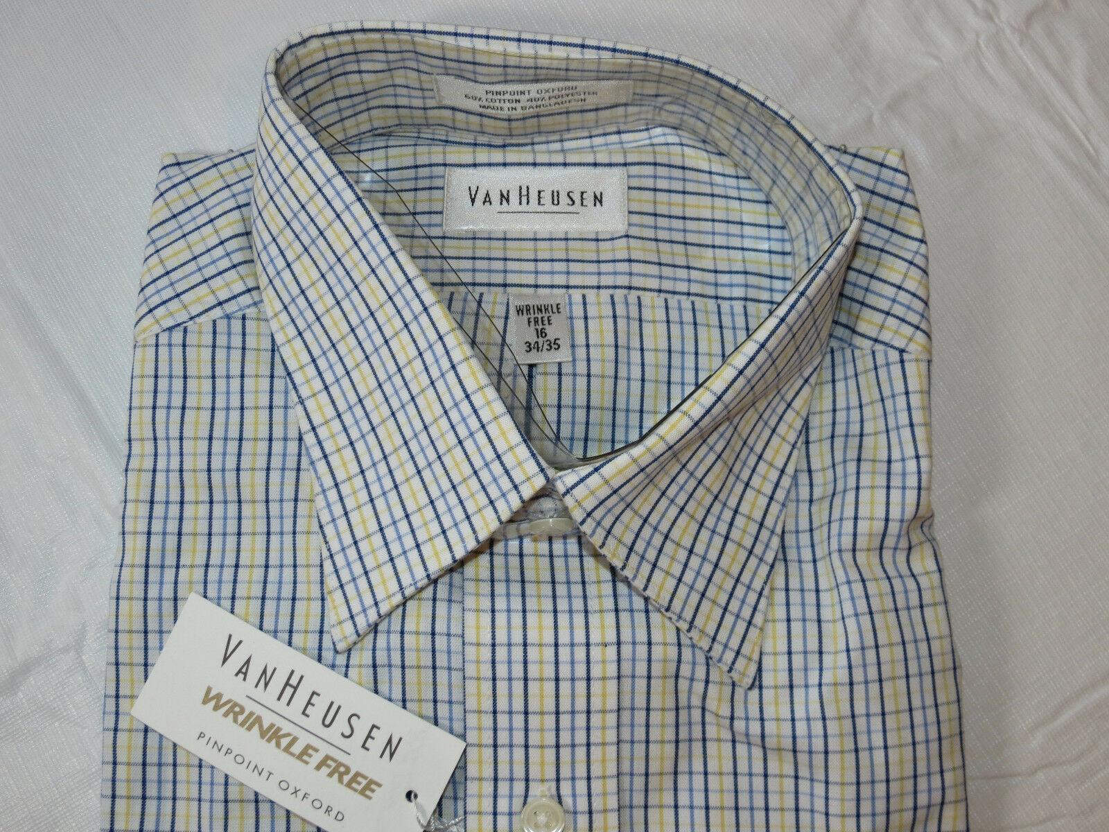 Herren Van Heusen Zielgenau Oxford Faltenlos L/S Knopfleiste Hemd 16 34/35