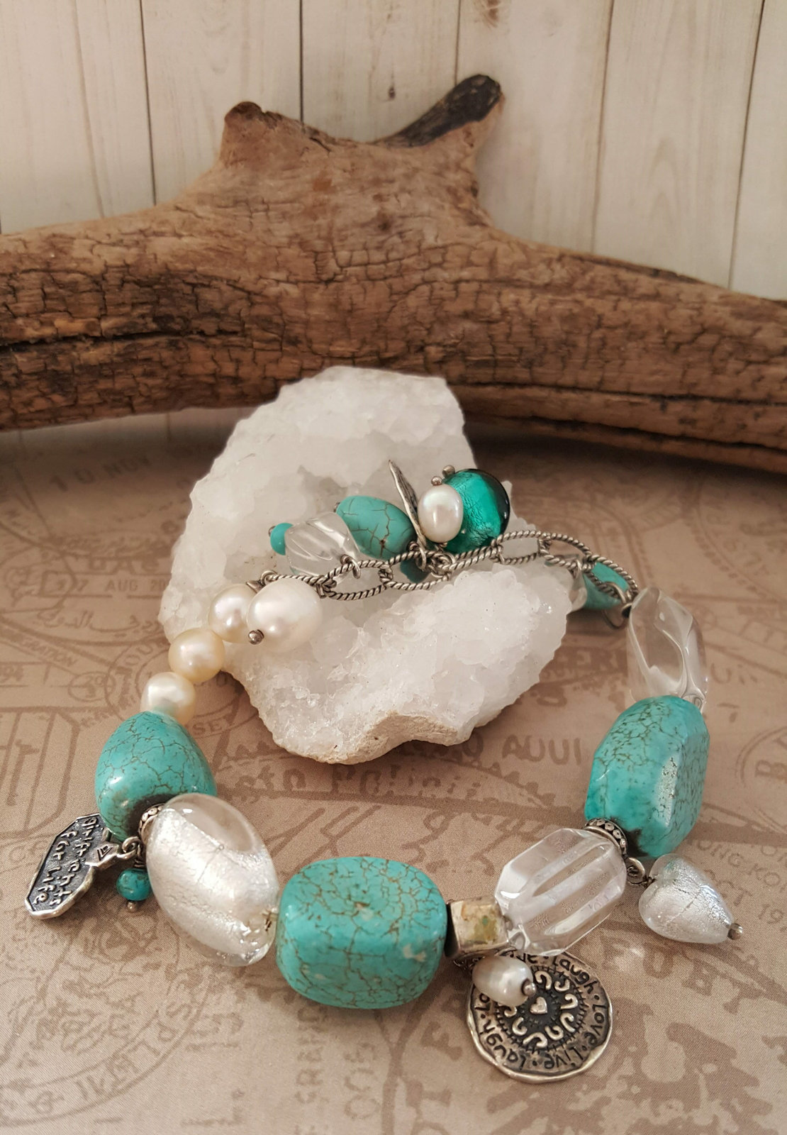 "Primary image for Silpada Charm Bracelet ""Girlfriends For Life"", Turquoise and Pearls 925 Bracelet"