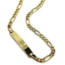 Bracelet or Jaune 18K 750, Plaque, Chaîne Figaro 3+1, Épaisseur 3mm, 21cm image 2