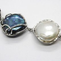 925 Sterling Silver, Three Pearls Baroque Disc Drop Zirconia Made in Italy image 4