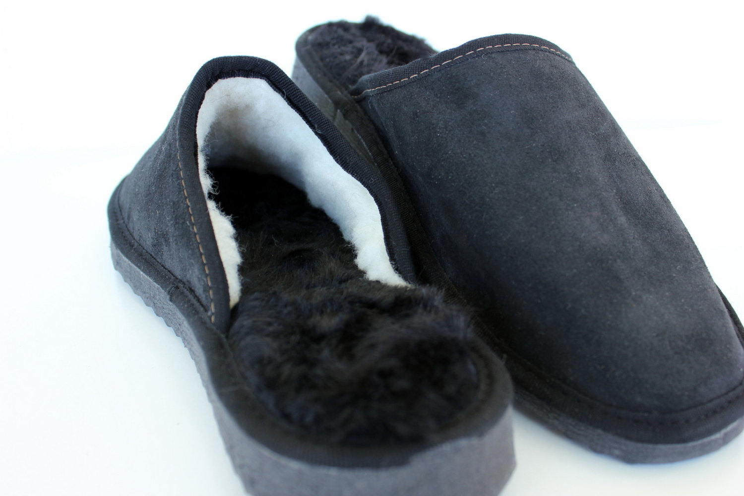 """The """"Cozy Walking"""". Black Men's Slippers made with Real sheepskin Leather."""