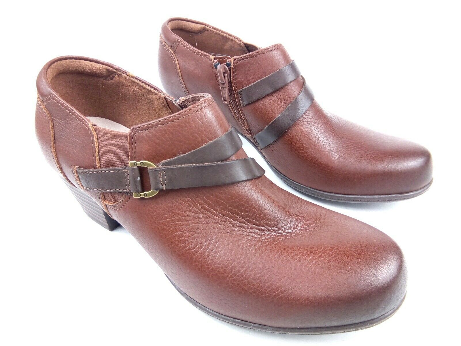 Clarks Women's Booties Collection Soft Cushion Brown Leather Ankle Boots Sz 6 image 2