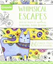 Whimsical Escapes. Adult Coloring Book with Perforated Pages - $9.95