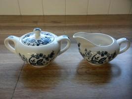 Vintage Blue Onion Pattern Sugar & Creamer Set Made in Japan - $21.78