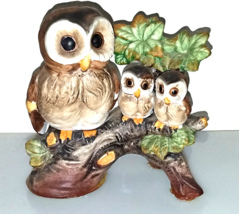 Mommy and Baby Owls porcelain/bisque  sitting on tree stump-vintage-Ardco - $10.00