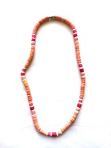 "Pink & Rose Dyed Puka Shell Necklace 15"" Screw Clasp - $4.90"