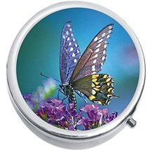 Purple Butterfly Medicine Vitamin Compact Pill Box - $9.78