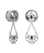 KUBOOZ 1 Pair Lotus Pendant Stainless Steel Screw Ear Plugs Tunnels Gaug... - $13.61