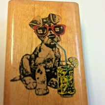 COOL DOG Rubber Stamp TERRIER Sunglasses Lemonade Summer Floppy Ear Pup Comotion - $28.69