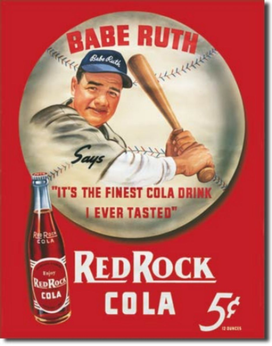 Babe Ruth Red Rock Cola  Metal Sign Tin New Vintage Style USA #149