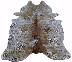 Illuminate Cowhide Rug Size: 7.7 X 6 ft Inca Symbols Silk Screen Cow Hide E-456 - $187.11