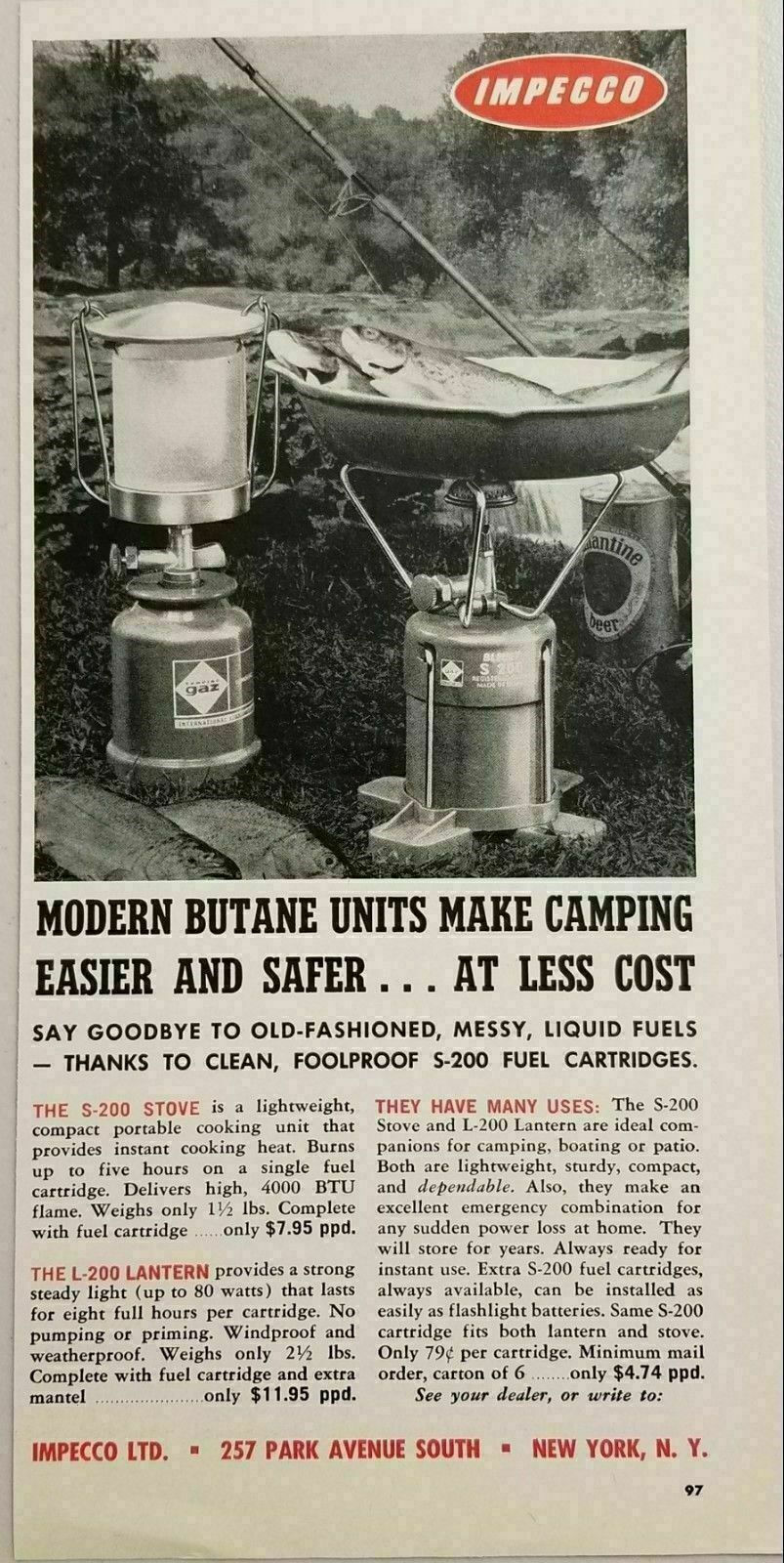Primary image for 1964 Print Ad Impecco Butane S-200 Camping Stove & L-200 Lanterns New York,NY