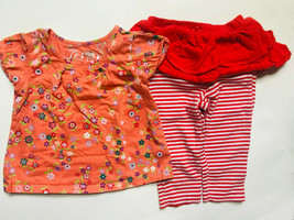 Baby Girl's Size 12M 9-12 Months 2 Pc Orange Floral Place Top, Carter's Leggings - $16.00