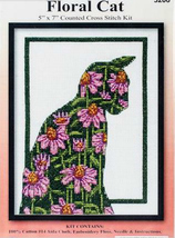 Design Works Floral Cat Cross Stitch Kit, 5x7in, aida, pink echinacea flowers - $12.99