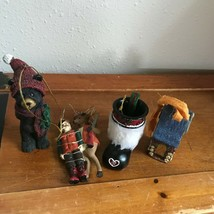 Estate Lot of Resin Rustic Outhouse Deer & Hunter Black Bear w Christmas... - $14.89