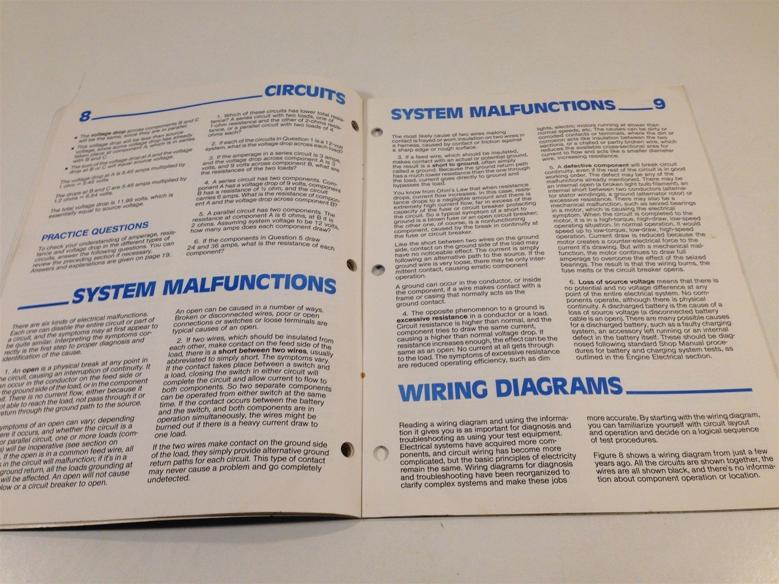 1982 Chevrolet Pro Tech Electrical Diagnosis Service Procedures Blue Book