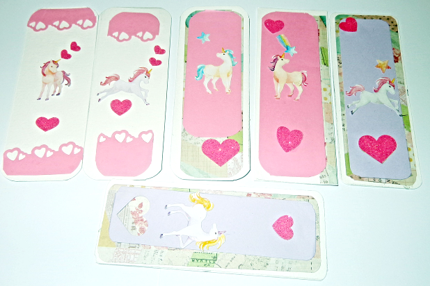 (1) Unicorn handmade sticker bookmarks,For Children or Kids even adults