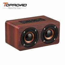 TOPROAD® HIFI Wood Wireless Enceinte Bluetooth Speaker Portable Dual Spe... - $30.68