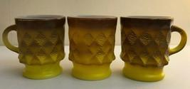 Qty 4 Vintage 60's FIRE KING Mugs Cups Kimberly Diamond Brown to Yellow USA - $8.97