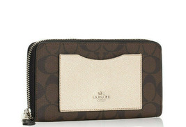 COACH 22712 Dark Brown Platinum Gold Metallic Colorblock Accordion Zip W... - $99.50