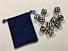 Ten Piece - Six Sided Dice Set & Bag - Onyx Solid / White Die Pips -=NEW=- - $6.60