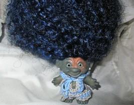 "BLUE AFRO ROOTIE 3"" ooak Custom Troll Doll rooted vintage 1960s dyed vin... - $58.41"