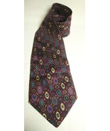 CHRISTIAN DIOR Tie Geometric Pattern Necktie Silk Maroon Teal Purple Yel... - $39.59