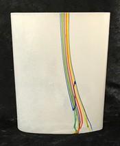 """Kosta Boda Rainbow Vase Bertil Vallien Signed Vintage Glass 1970s 6.5"""" - $59.37"""