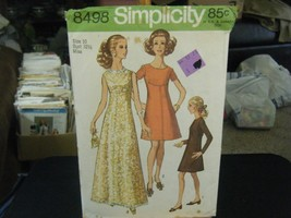 Simplicity 8498 Misses Dress in 2 Lengths Pattern - Size 10 Bust 32 1/2 - $10.48